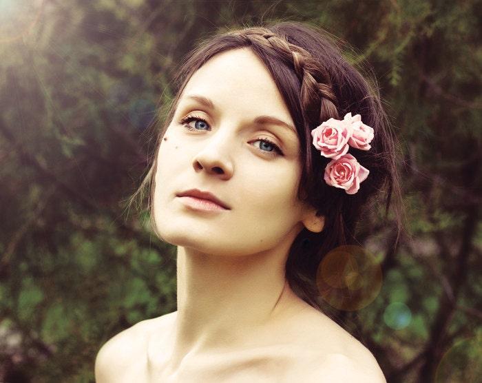 Bridal flower hair pin, Bridesmaid bobby pins, Wedding hair accessories, Pink hair flowers, Bridal bobby pin, rose, pearls. - ArsiArt
