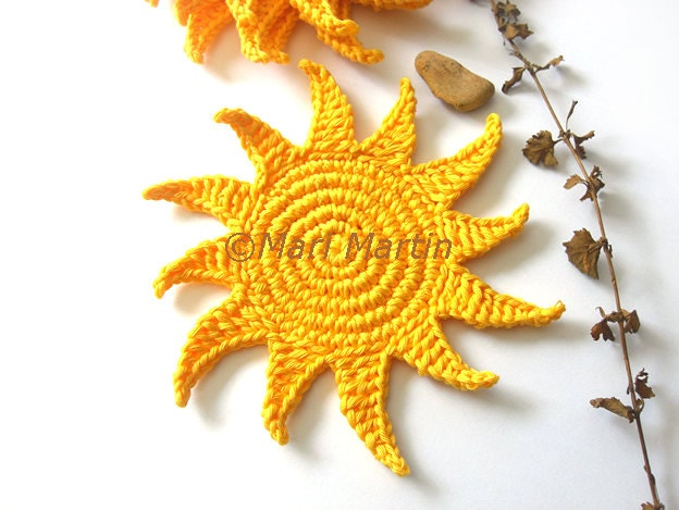 Sun Yellow Crochet Coasters . Beverage Drink Brightness Radiance Tan Sensational Sunlight Sunshine Sol Summer - Set of 4 - Made to order