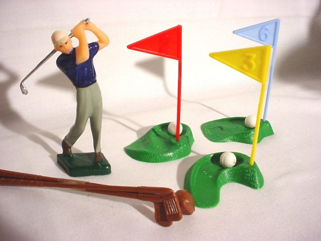 Cake Decorating Golf Figures : Vintage Golf Golfer Player Cake Topper by RebeccasTreasury ...
