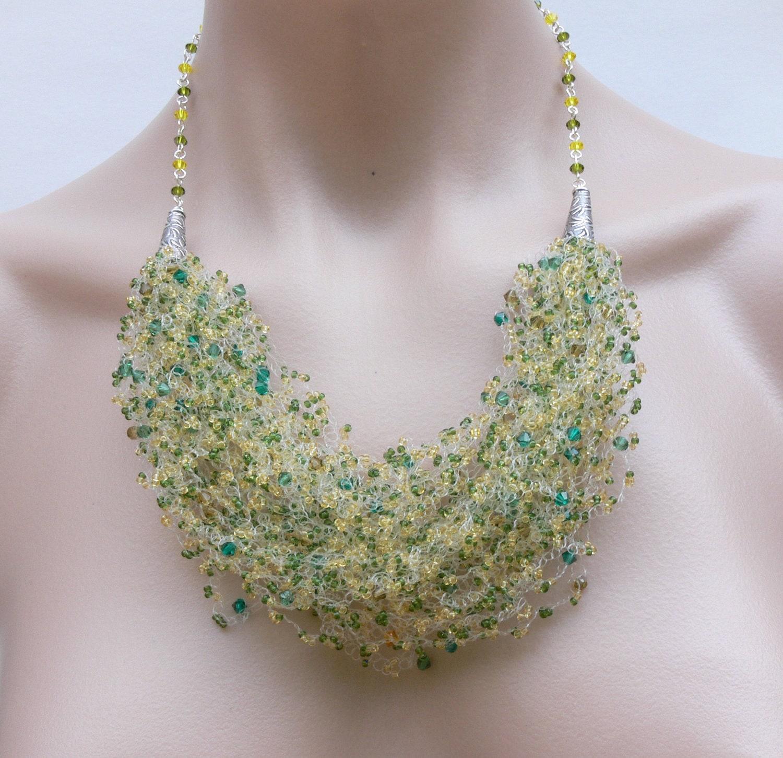 crochet necklace necklace bead crochet by 7pmboutique