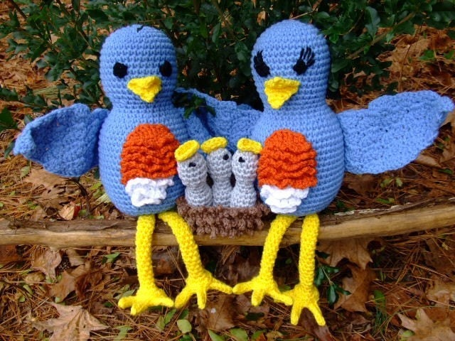 Crochet Pattern Bluebird Family