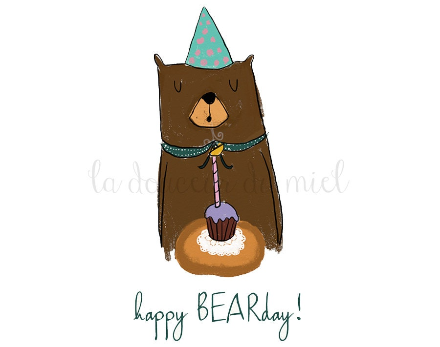 Birthday card with a bear blowing out the candles, happy birthday greetings card for kids, children illustration, birthday party - LaDouceurDuMiel