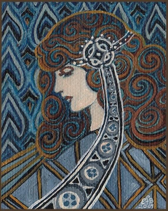 Lapis Lazuli Goddess - Art Nouveau 8x10 Print - EmilyBalivet
