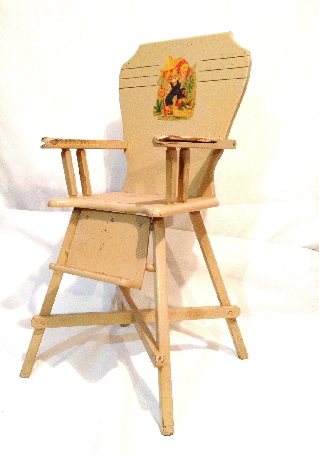 Wood Vintage Antique Baby High Chair Creamy By IdolizedVintage