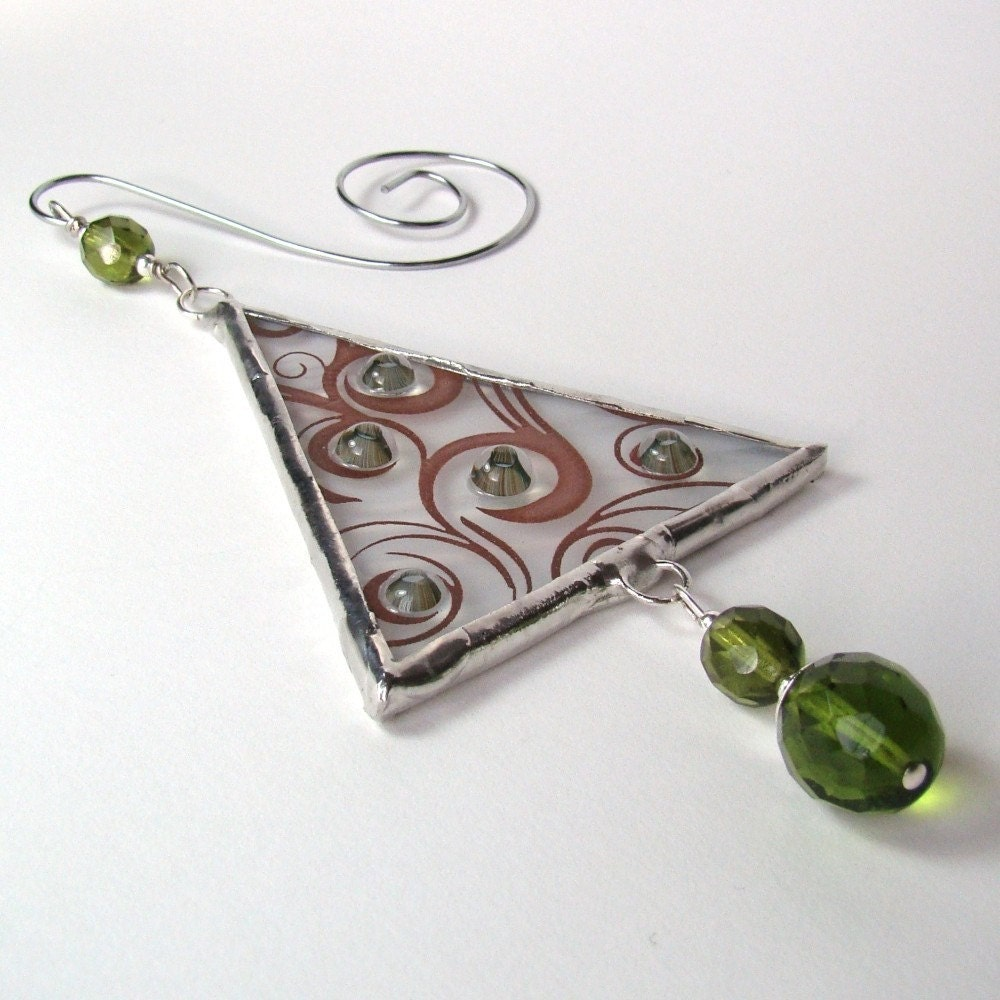 Modern Fused Glass Ornament Olive Christmas Tree