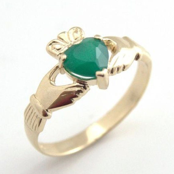 Claddagh Ring 9ct Yellow Gold with Green Agate Heart (CL8)