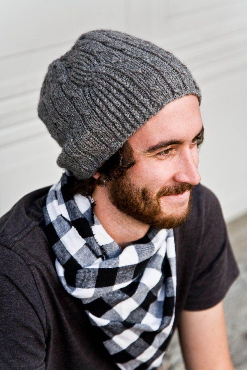 Mens Knitted Hat Patterns : Camping Mens Knitted Wool Hat in Sea Blue Green by Woolibear