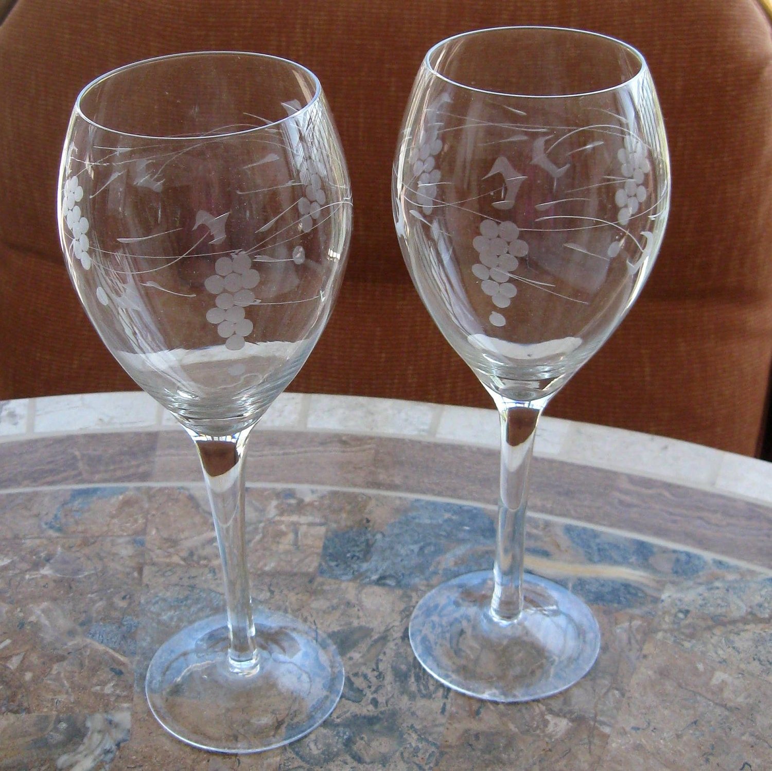 Vintage Wine Glass Glasses Etched Crystal Grape By