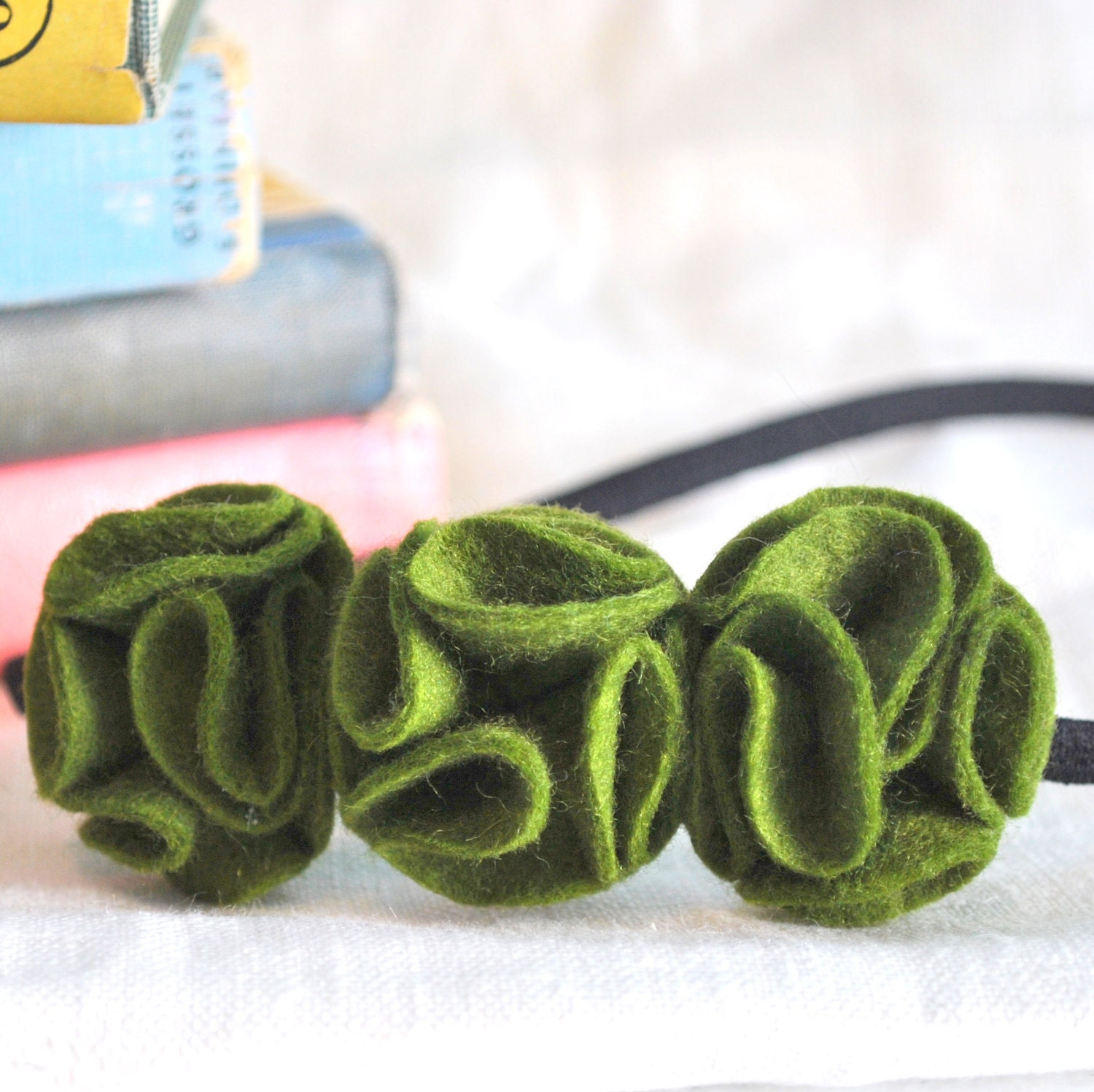 Green Flower Ruffle Headband - Moss Wool Felt - Olive Green Floral Statement Headband - FoldingChairDesigns