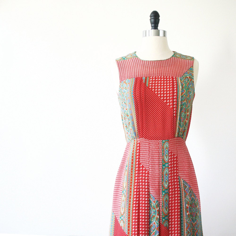 Vintage Japanese Dress Cherry Red Summer Dress Patchwork Dress RESERVED - StandardVintage