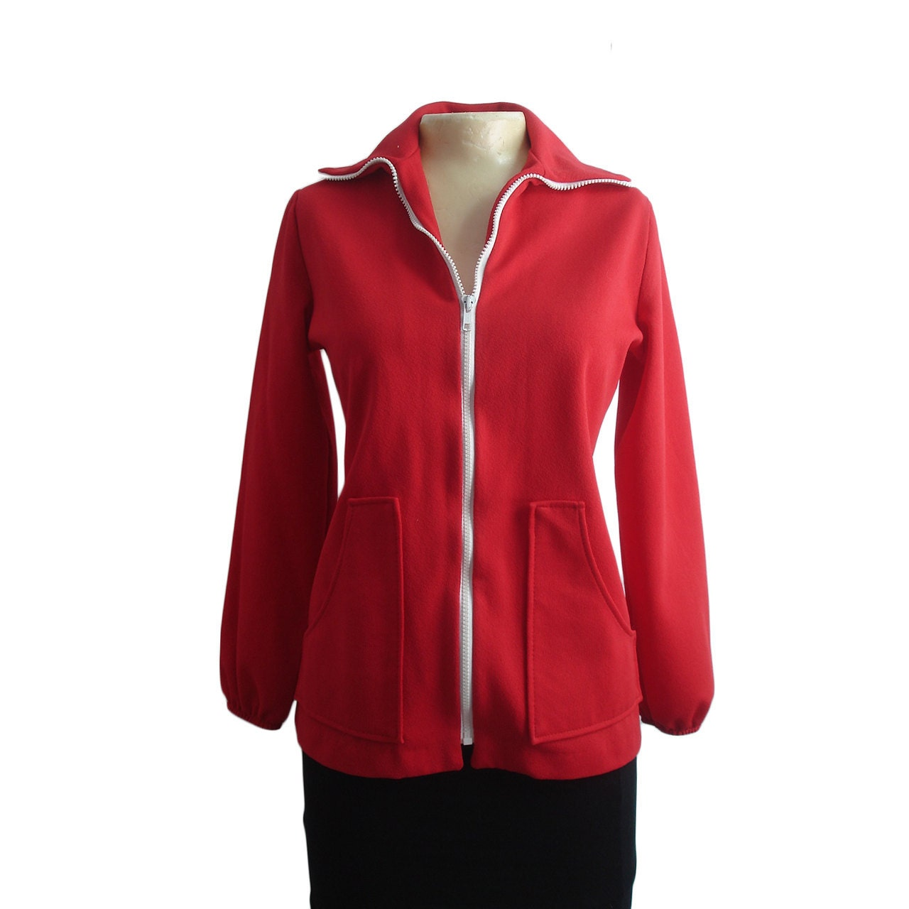 Vintage 70s Red Warm Up Jacket, Medium - ModernGhostBK