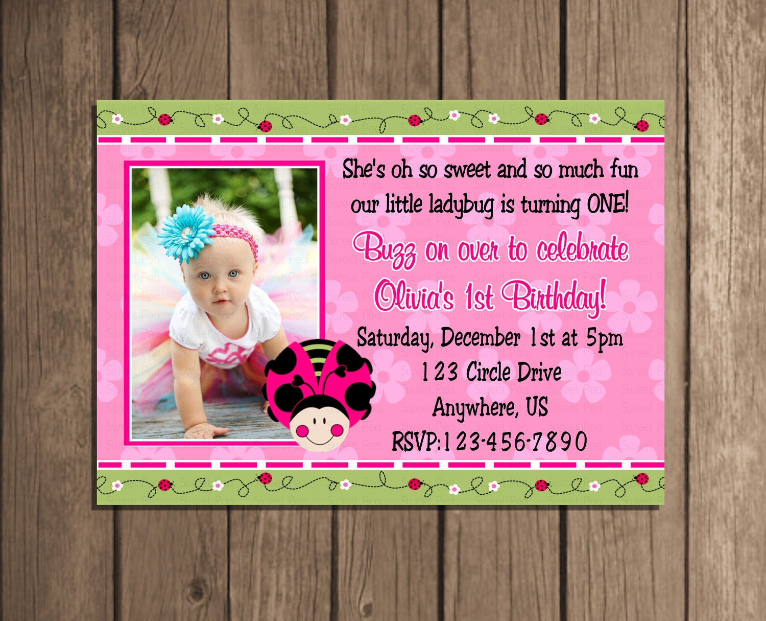 Oh so sweet pink ladybug girl invitation or by periwinklepapery