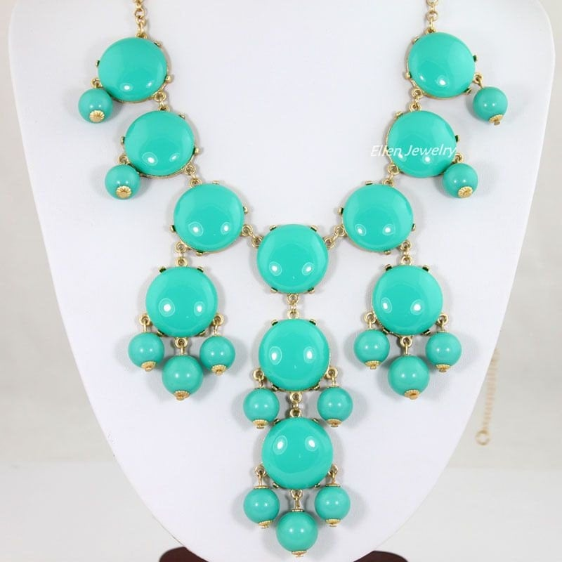 Bubble Necklace, Turquoise Color Necklace,  Light Blue ,Statement Necklace(FN0654-Smooth)