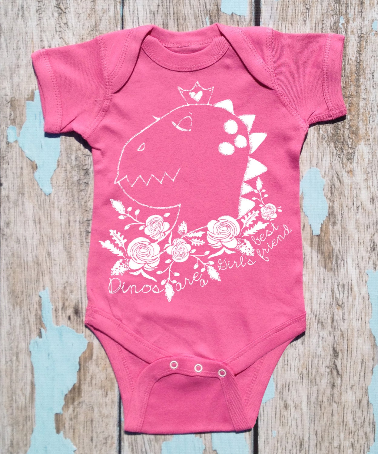 Dinos Are A Girl's Best Friend Dinosaur Graphic Baby Bodysuit By TrulySanctuary, Great Baby Shower Gift, First Birthday Gift Or Party Favor