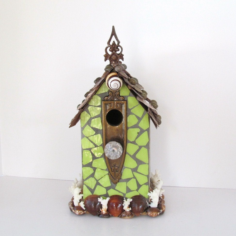Birdhouse Shells and Mosiac Church Steeple Seashells Lime Green Brown - SandisShellscapes