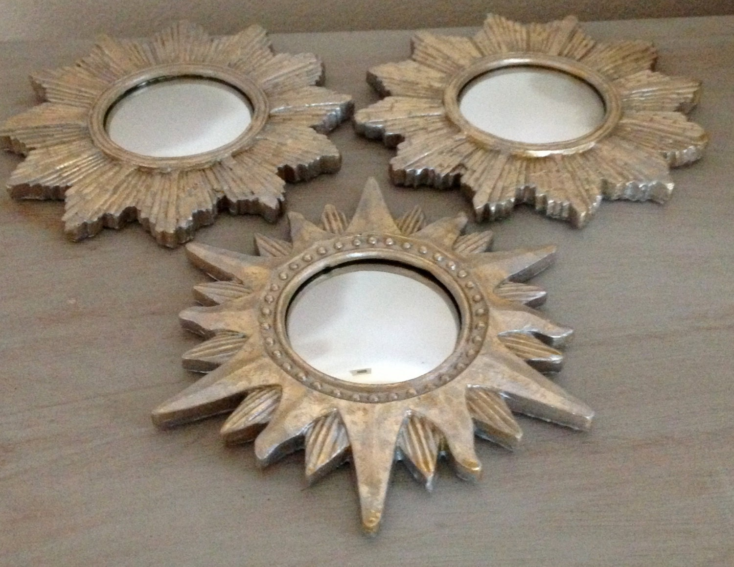 Fabulous Set Of Small Starburst Mirrors Pale By Bluegreenwater