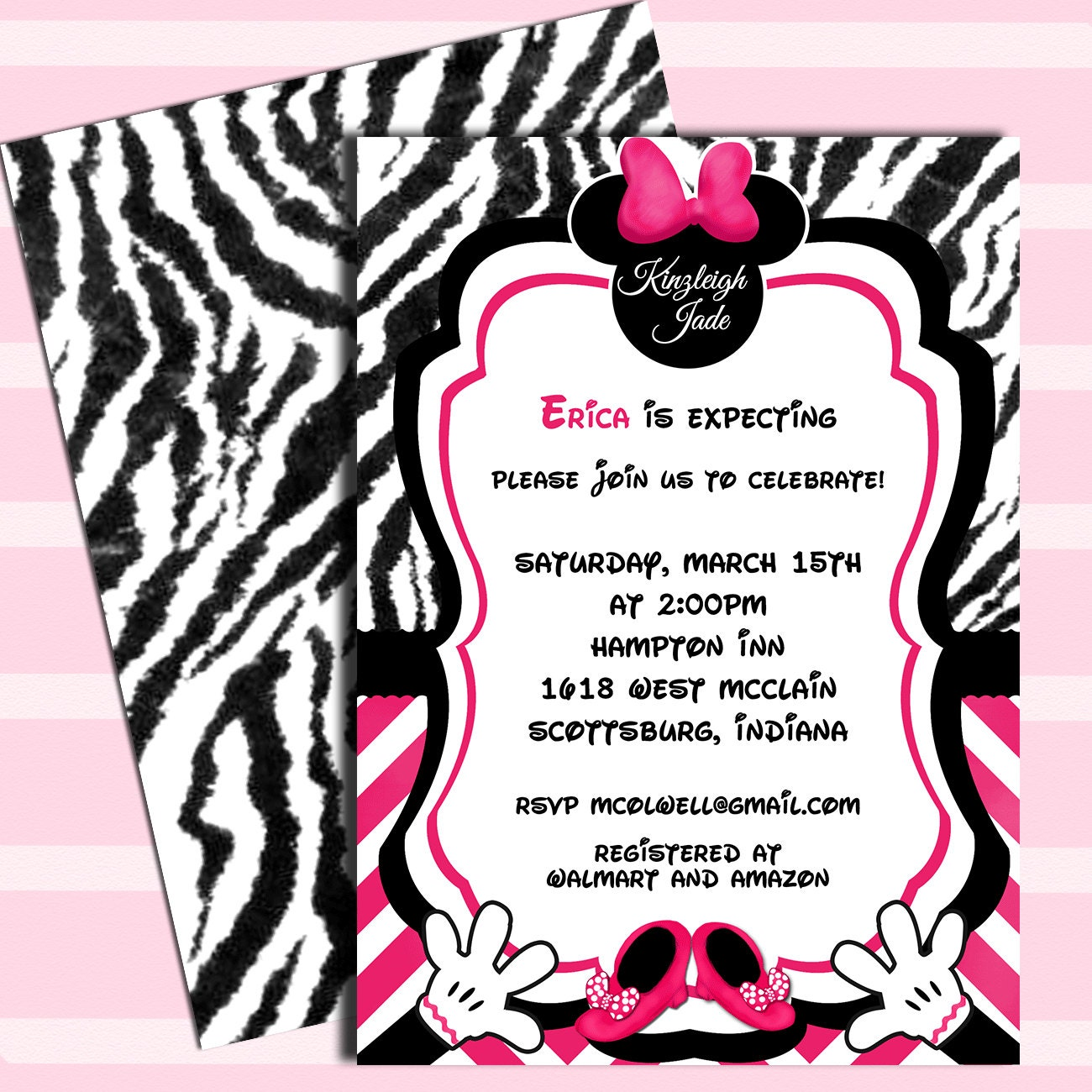 Minnie Mouse Zebra Print Baby Shower: Minnie Mouse Baby Shower Invitations DIY By