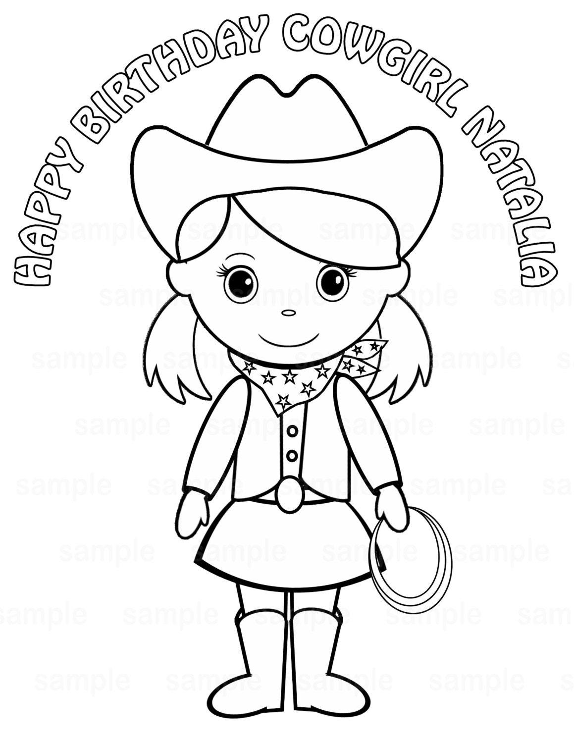 Personalized Printable Cowgirl Pigtails Birthday By