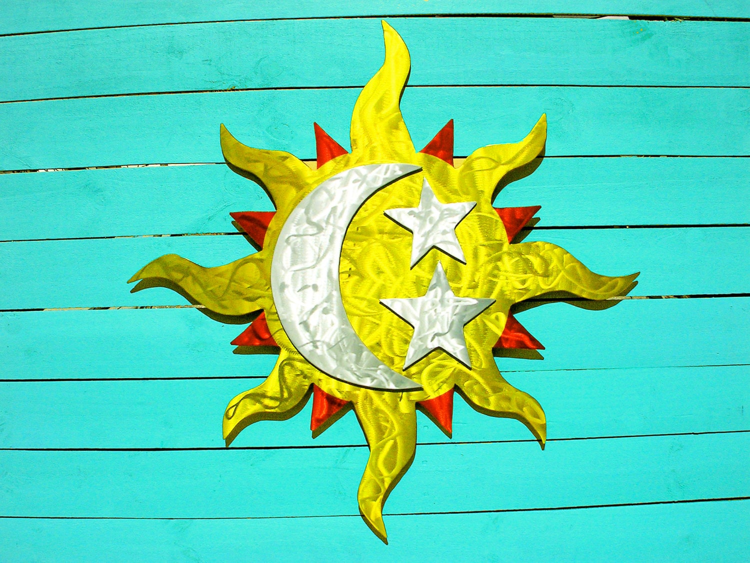 Artistic Sun And Moon Metal Wall Art for Indoor or Outdoor - induced ...