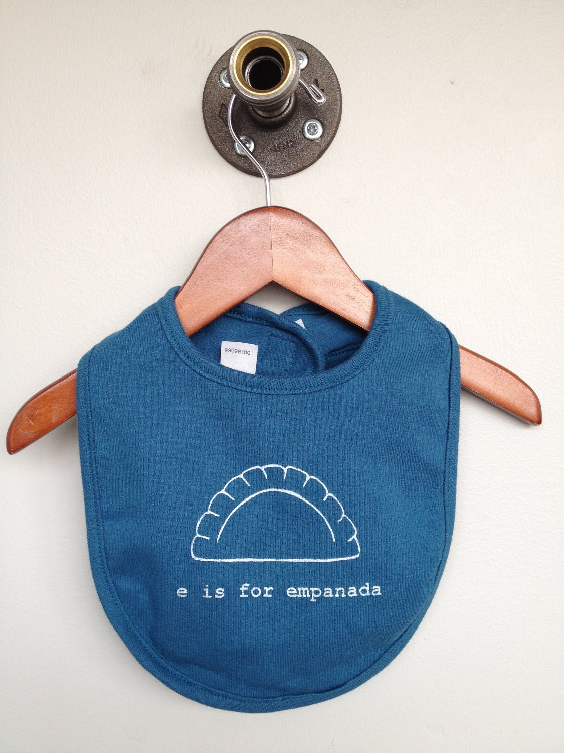 E is for Empanada Organic Baby Bib -Galaxy Blue