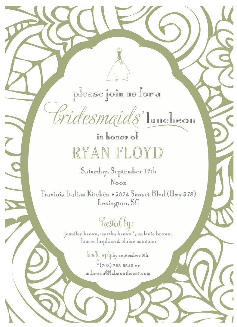 Bridesmaids Luncheon Invitation by camaddisondesigns on Etsy