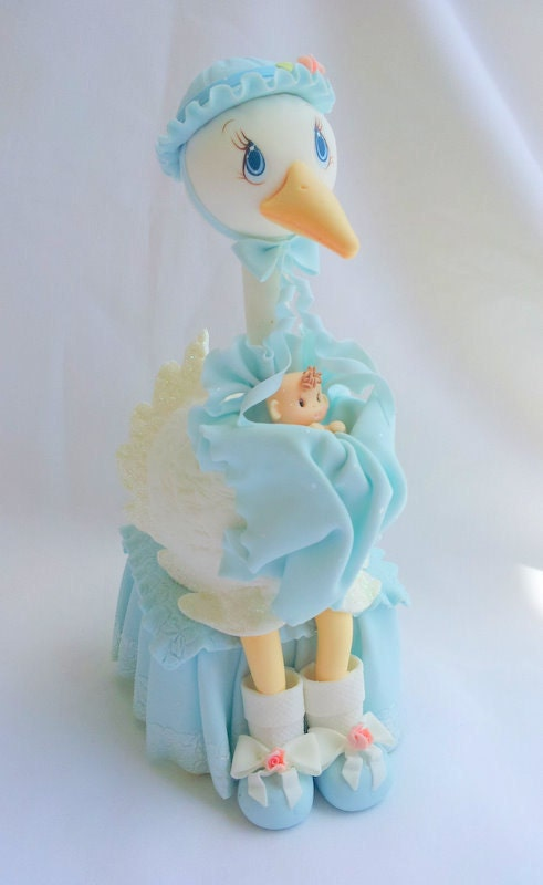 Cake Toppers Baby Shower Boy : Stork cake topper. baby boy stork cake by ForeverSweetfavors