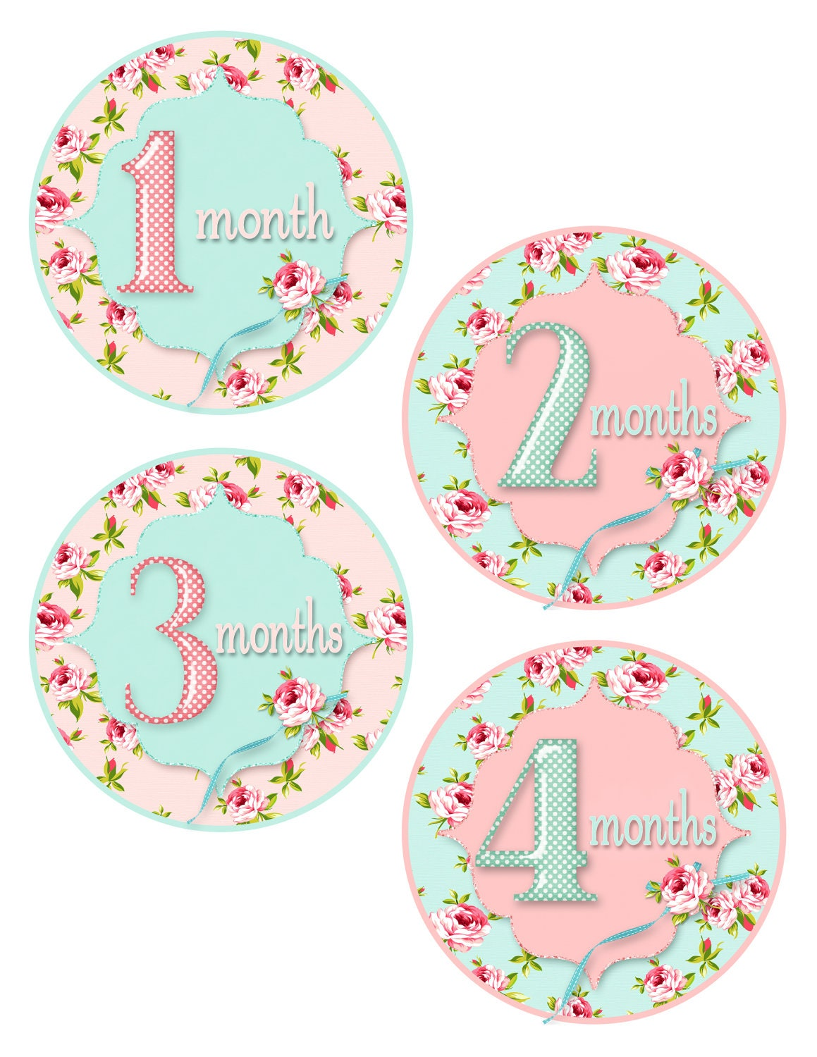 Digital printable baby month stickers baby girl monthly stickers