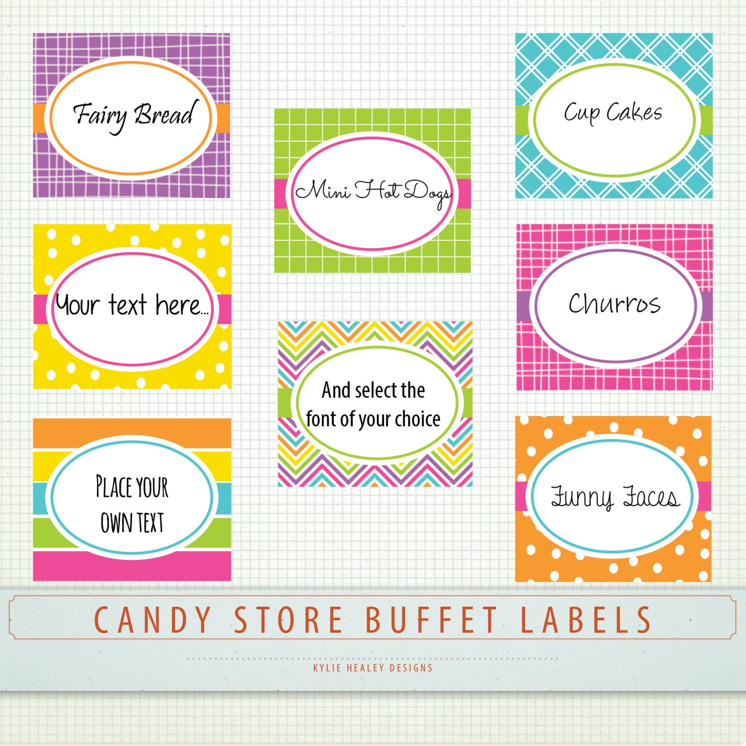 Editable PDF Party Food Buffet Labels Candy Store by KHDigi
