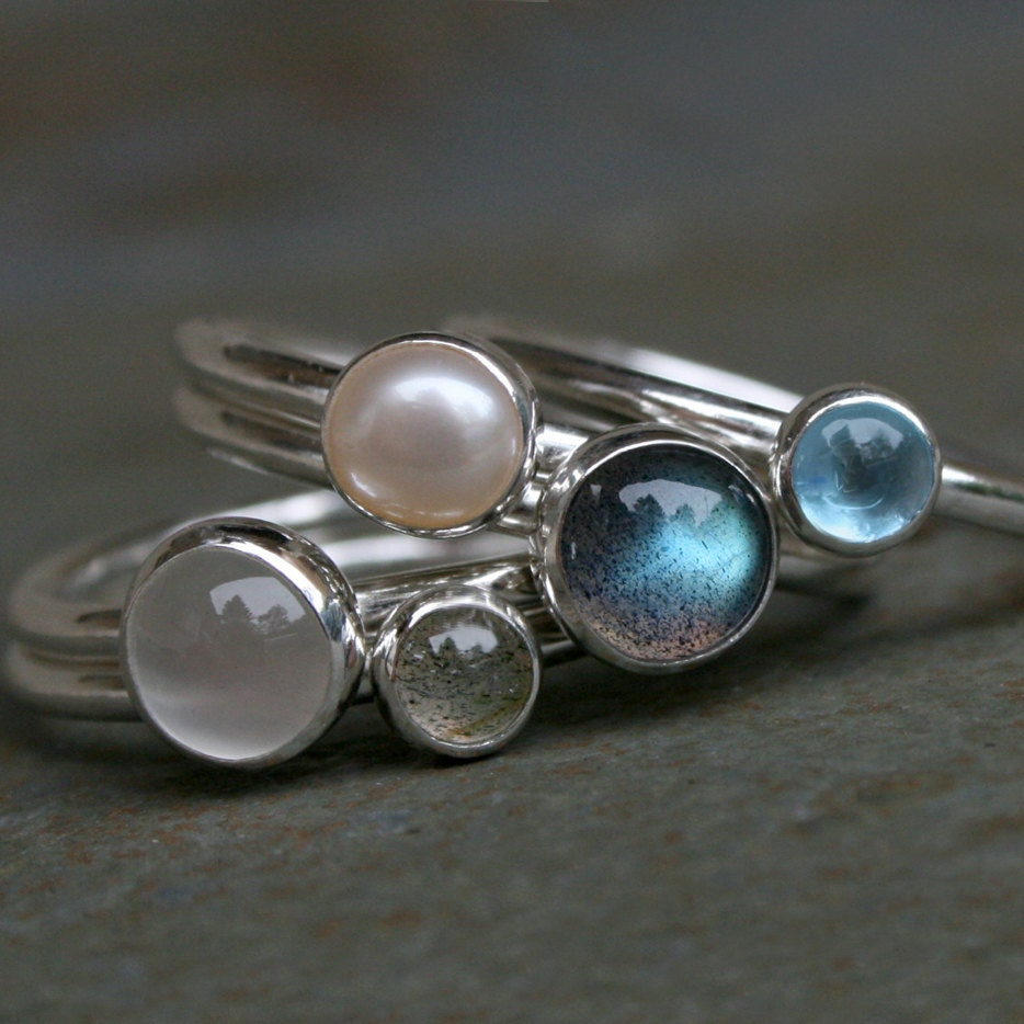 Etsy Moonstone Stacking Rings