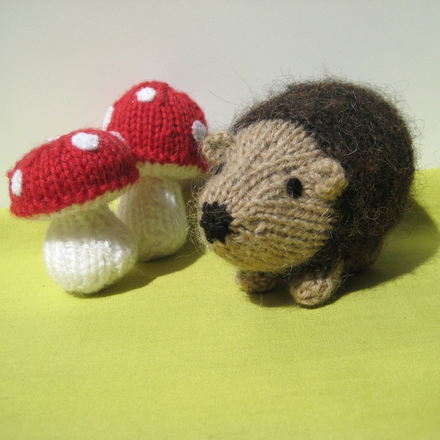 Knitting Pattern For Hedgehog : Kensington Hedgehog and toadstools toy knitting by ...