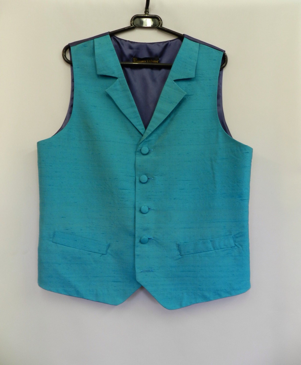 Light blue silk dupion Waistcoat  4042 Chest. With lapels.