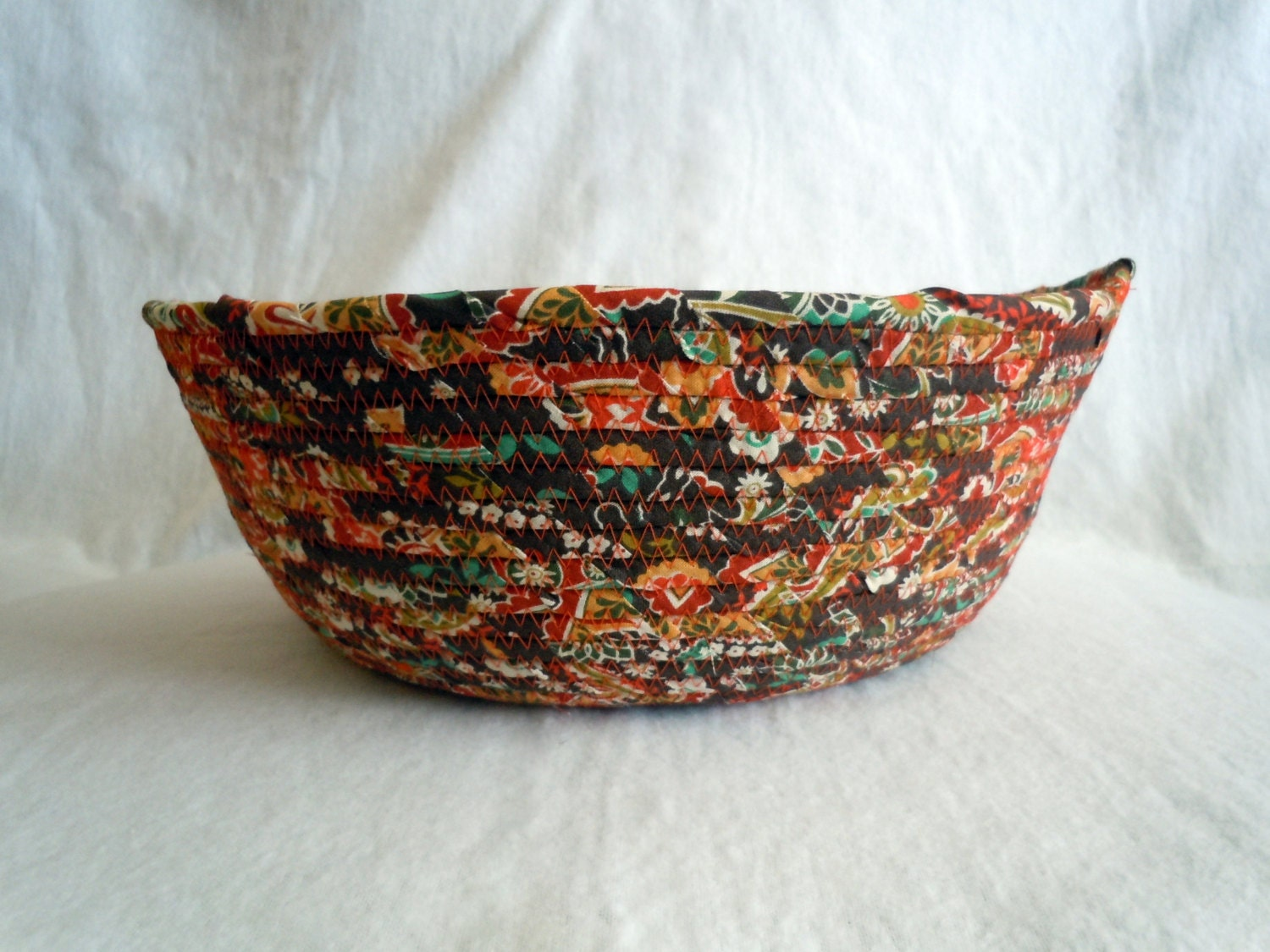 Large Fall, Autumn, Thanksgiving Fabric Coiled Bowl - JennisCraftyCorner