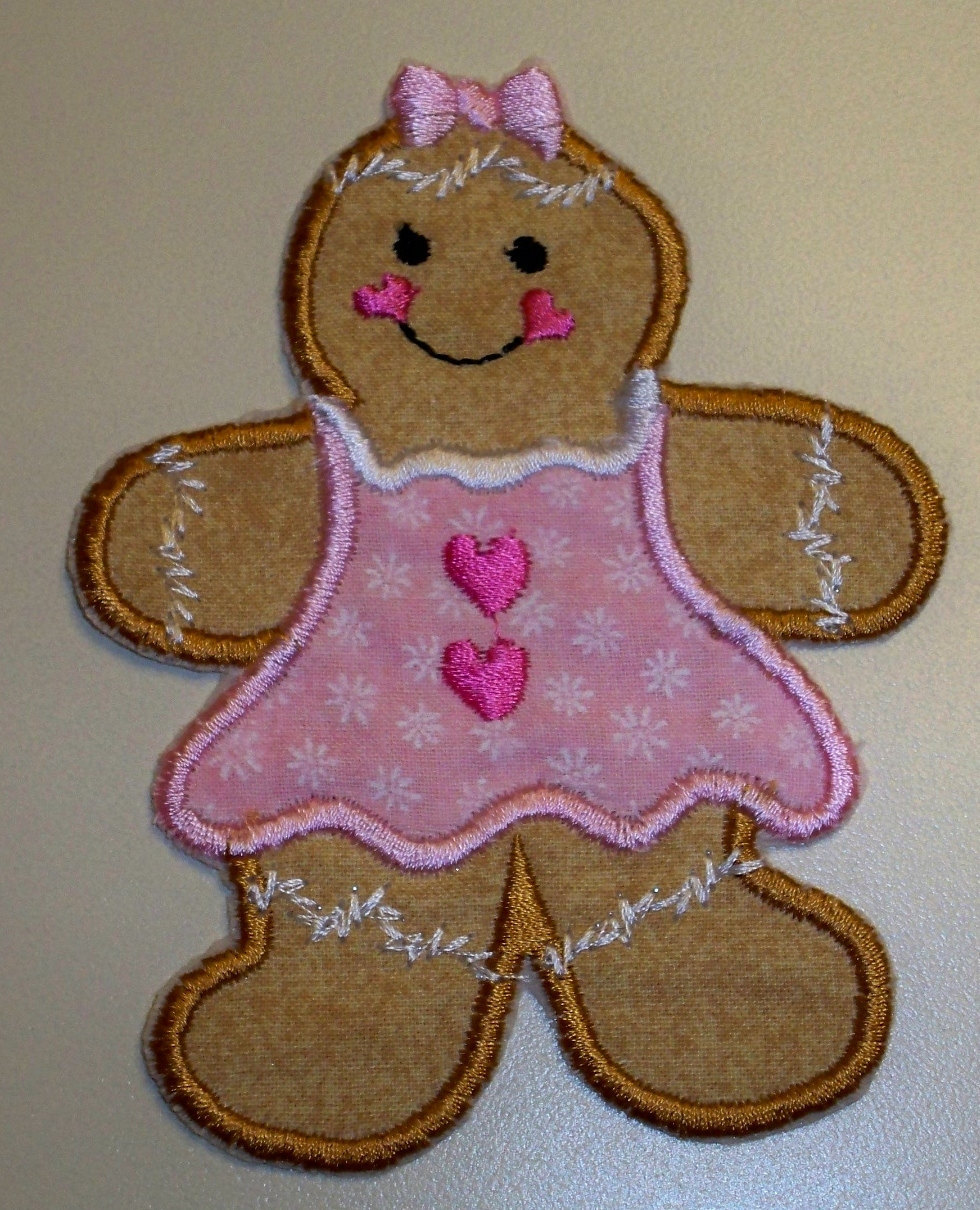 Gingerbread girl Christmas iron on patch pink dress
