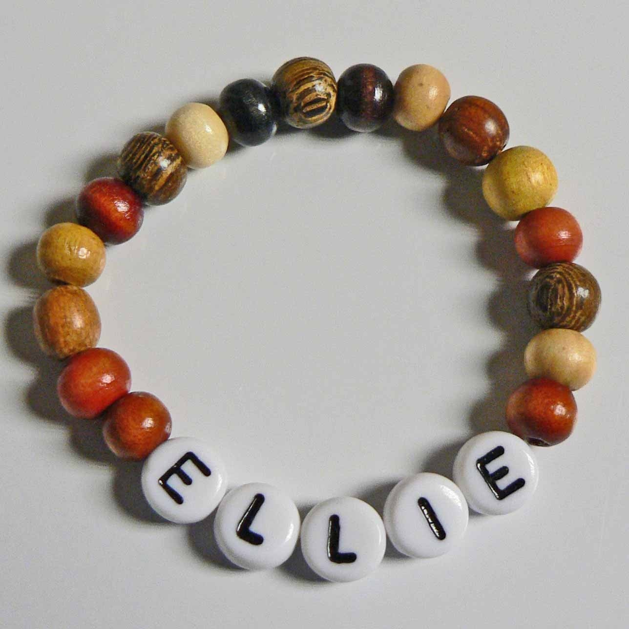 Natural Wood Children's Jewelry Name Bracelet By