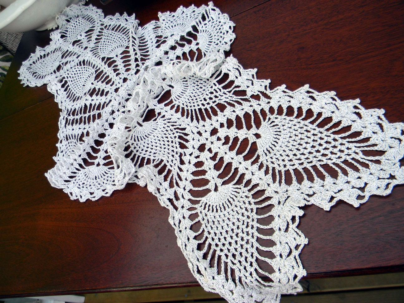 Crochet Table Runner : Table Runner Vintage Crocheted Centerpiece in by VintageKeepsakes