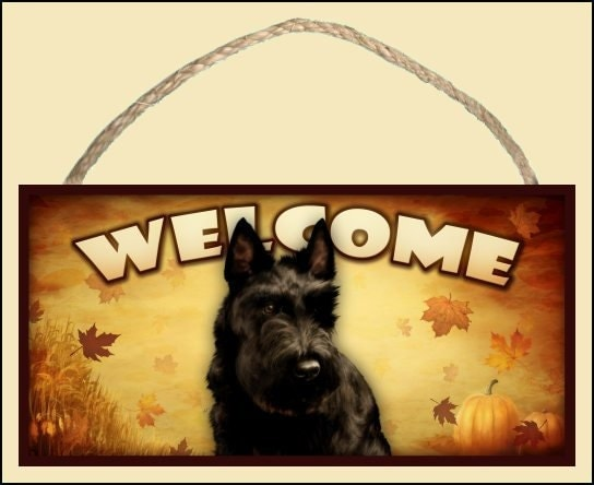 "Scottish Terrier (Scotty) Fall / Autumn Season 10"" x 5"" Wooden Welcome Sign"