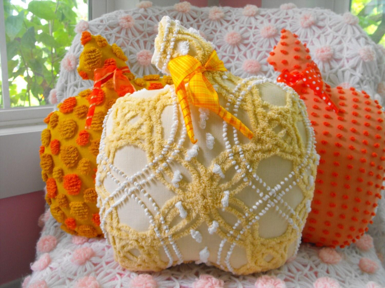 Pumpkin Patch Vintage Chenille Garden Fresh Pumpkin Pillow
