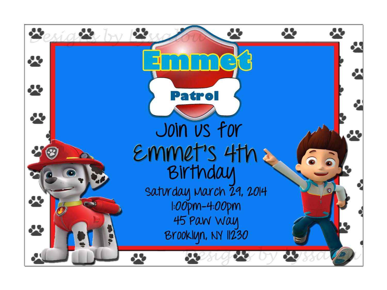 Paw patrol birthday invitations printable diy digital file