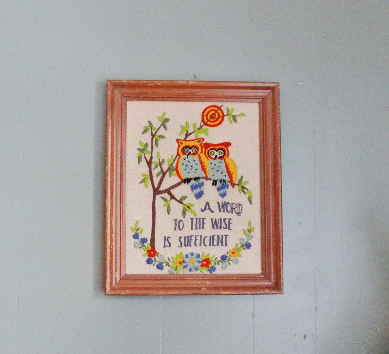 spring sale // Vintage 60s Needlepoint Owl Proverb Wall Hanging - Crewel - Framed - Mod Kitsch