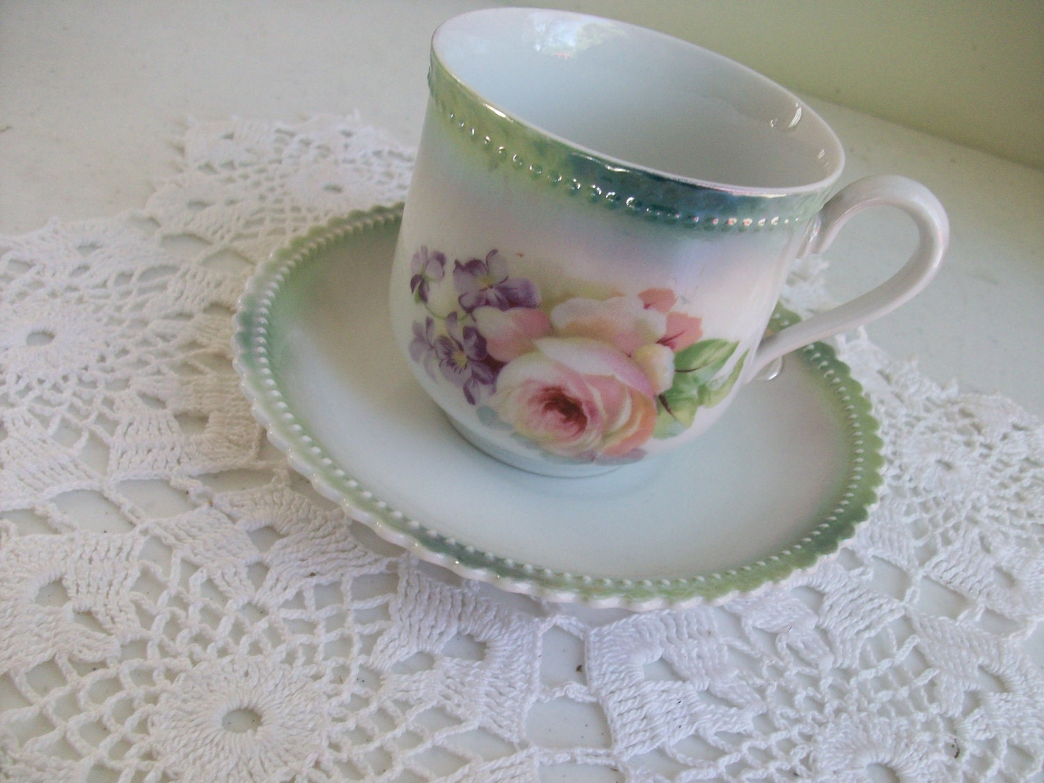 P K Silesia Pink Floral Rose High Tea Cup and Saucer Green Edge / - AJewelsQuest