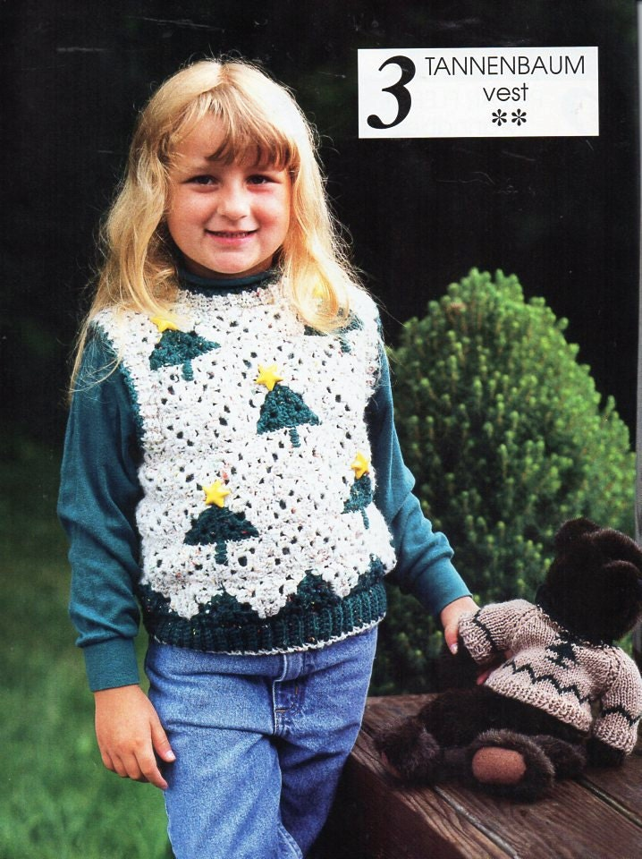 childrens crochet Christmas Sweater pattern Crochet pattern PDF Christmas Tree Crochet Jumper 414years  Aran 10ply worsted instant download