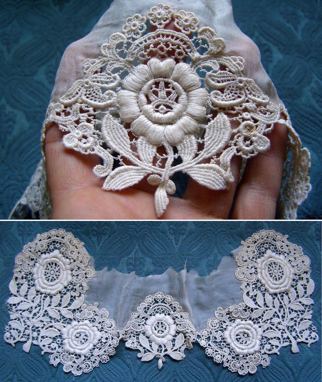 Antique Lace French Vintage Lace Embroidery Schiffli Flowers 1800's Trim Dress Applique - AntiqueDelights