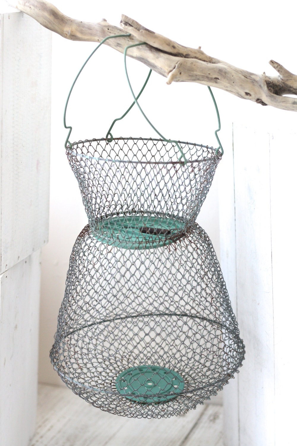 French vintage iron wire basket for fishing for by for Fish wire basket