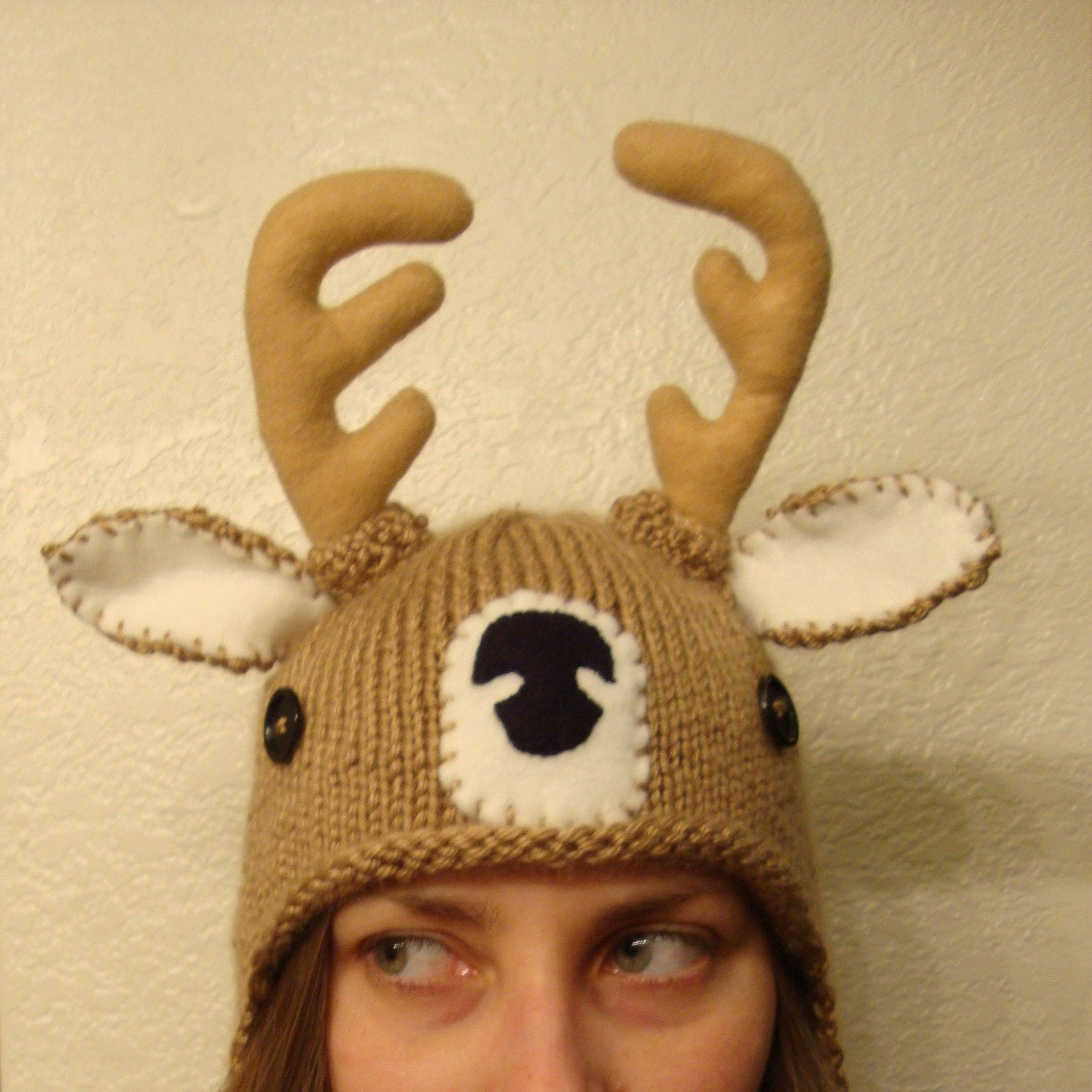 Knitting Pattern Deer Hat : DEER hand knit hat bobcat hats by bobcathats on Etsy