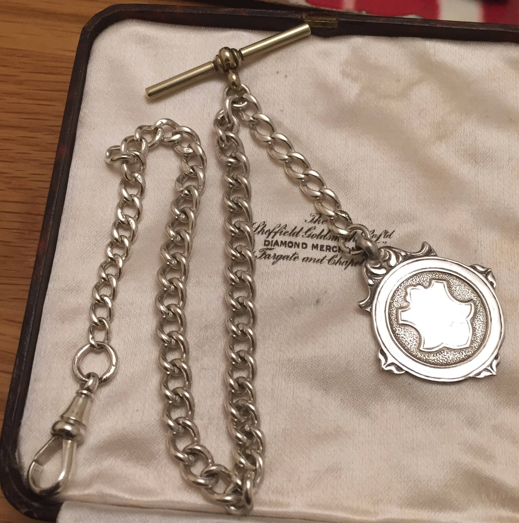 Antique Sterling silver Albert pocket watch chain  1940s