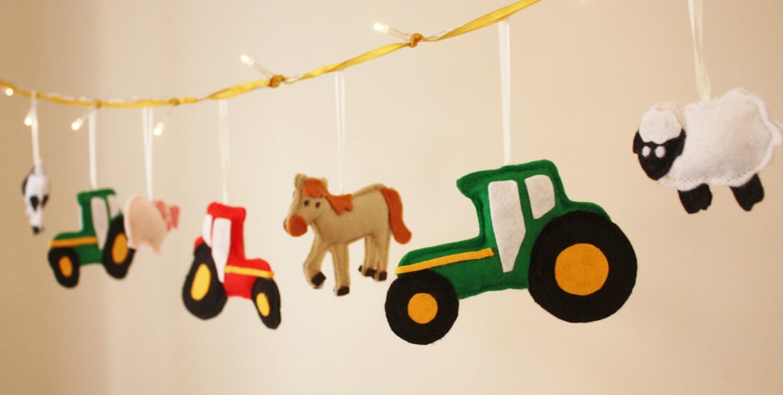 Farmyard Fairy Lights, boys room decor, girls room decor, tractor, vehicle theme, old mcdonald,farm animals - ButtonOwlBoutique