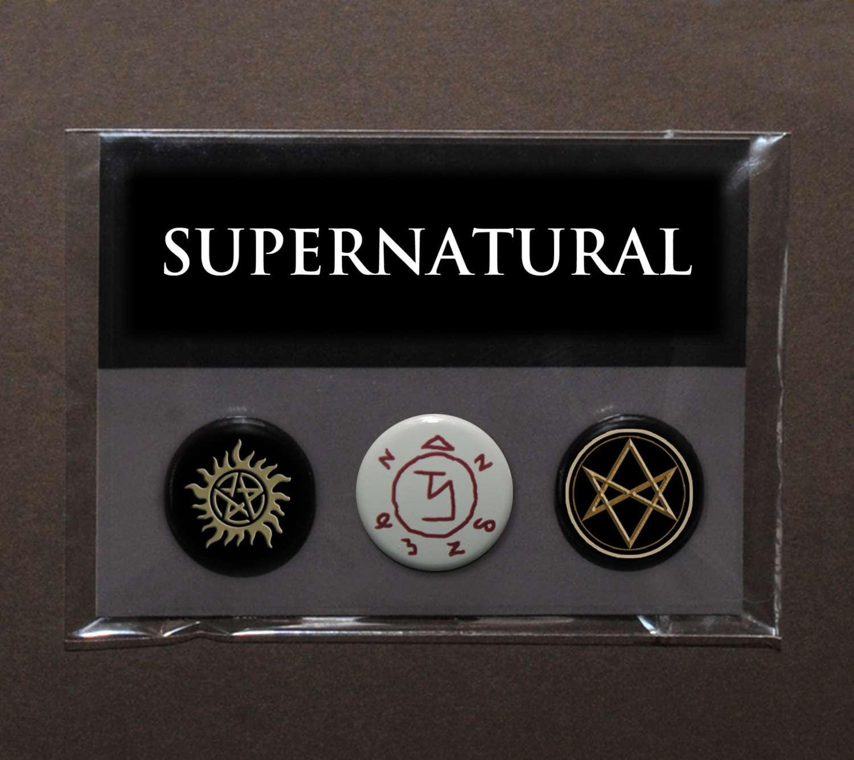 Supernatural sigils button badge set  Sam and Dean  Castiel  Crowley  Men of Letters symbol  Winchester tattoo  anti demon possession