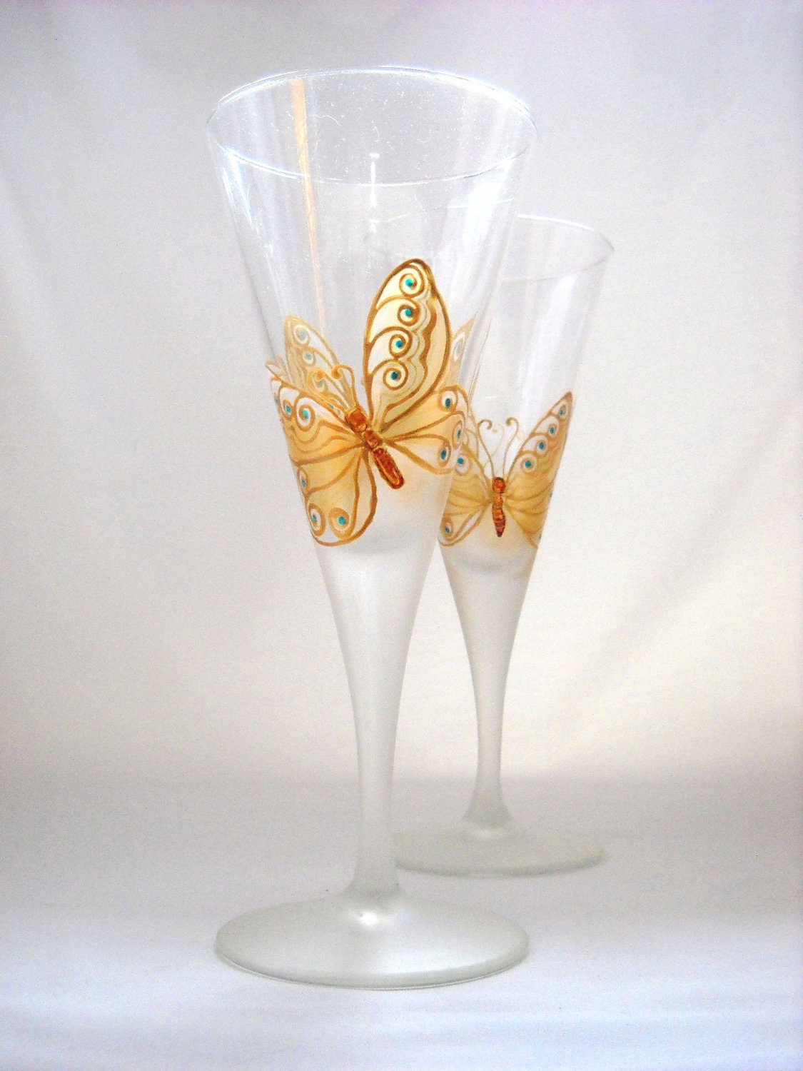 Items Similar To Glassware Hand Painted Wedding Glasses Golden Butterfly On Etsy