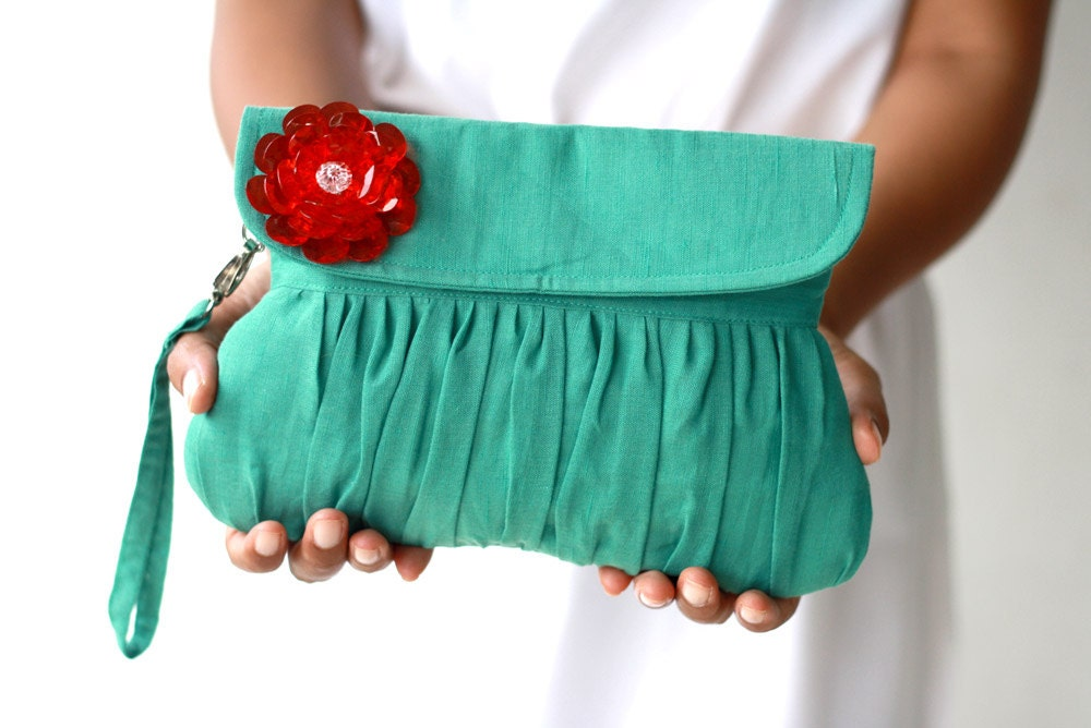 Ultramarine green clutch with red beaded flower, wedding clutch, autumn/fall fashion clutch  purse - Oyeta