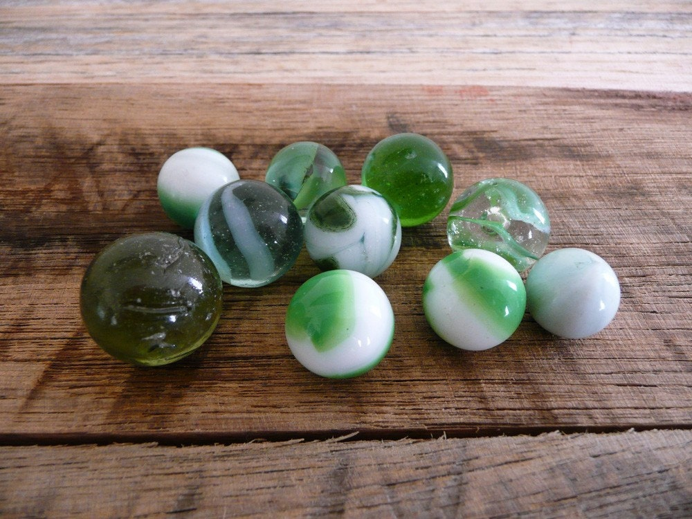 Green Glass Marble : Old green glass marbles by redarrowvintage on etsy